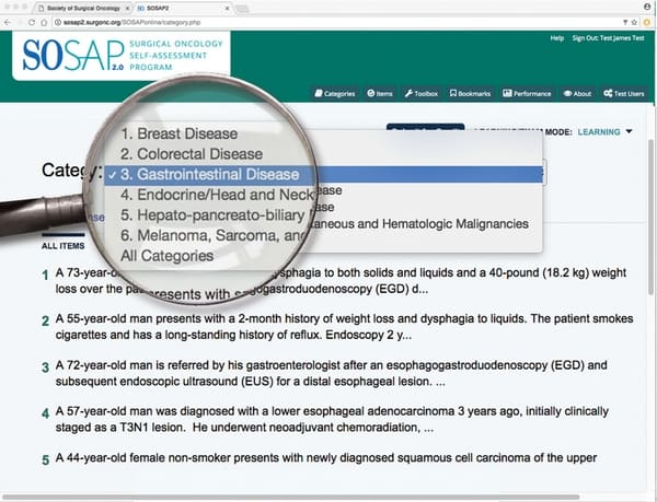 SOSAP 2.0 web page example, Surgical Oncology Self-Assessment Program